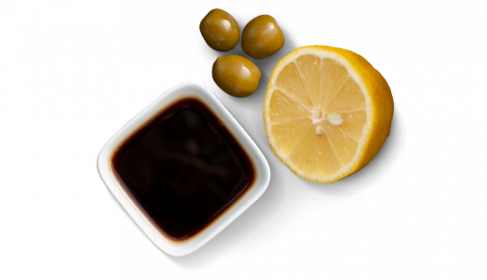 """D'huile d'olive extra vierge, """"Aceto balsamico di Modena IGP"""" & citron"""