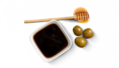 "D'huile d'olive extra vierge, ""Aceto balsamico di Modena IGP"" & miel"
